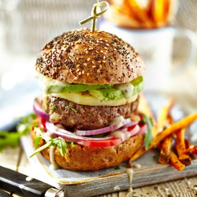 Beefburgers & Sweet Potato Fries