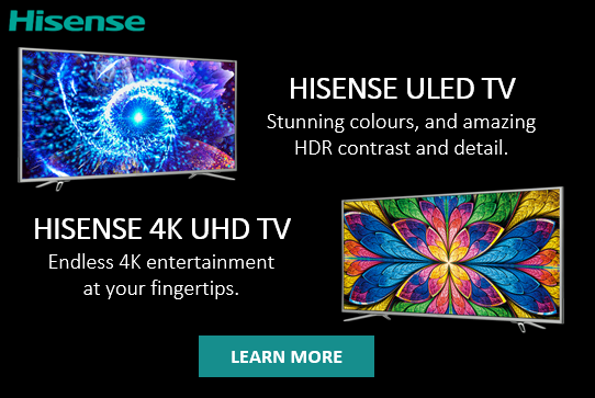 HiSense ULED and 4K UHD TVs, smart TV all around. Available now at The Good Guys