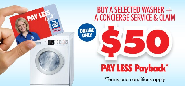 Washer + Concierge Service & claim $50 Payless Payback Espot